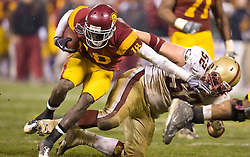 Dec 26, 2009; San Francisco, CA, USA;  Southern California Trojans wide receiver Damian Williams (18) is tackled by Boston College Eagles defensive end Austin Giles (52) during the third quarter in the 2009 Emerald Bowl at AT&T Park.  USC defeated BC 24-13.