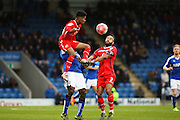 Walsall FC defender Rico Henry wins the ball during the The FA Cup match between Chesterfield and Walsall at the Proact stadium, Chesterfield, England on 5 December 2015. Photo by Aaron Lupton.