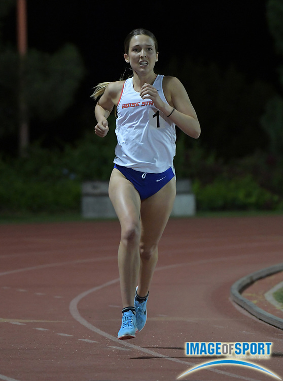 Clare O'Brien of Boise State places second in the women's 10,000m in 33:39.43 during the Bryan Clay Invitational in Azusa, Calif., Wednesday, April 17, 2019.