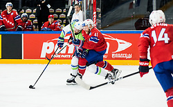 Robert Sabolic of Slovenia vs Patrick Thoresen of Norway  during the 2017 IIHF Men's World Championship group B Ice hockey match between National Teams of Slovenia and Norway, on May 9, 2017 in Accorhotels Arena in Paris, France. Photo by Vid Ponikvar / Sportida