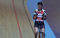 Great Britain's Katie Archibald celebrates winning the Elimination Race element of the Women's Omnium, during day one of the Six Day Series at the HSBC National Cycling Centre, Manchester.