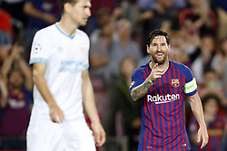 (L-R) Daniel Schwaab of PSV, Lionel Messi of FC Barcelona during the UEFA Champions League group B match between FC Barcelona and PSV Eindhoven at the Camp Nou stadium on September 18, 2018 in Barcelona, Spain.