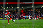 Charlton Athletic defender Mouhamadou-Naby Sarr (23) takes his penalty, and misses, during the EFL Sky Bet League 1 second leg Play-Off match between Charlton Athletic and Doncaster Rovers at The Valley, London, England on 17 May 2019.