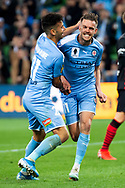 MELBOURNE, AUSTRALIA - SEPTEMBER 18: Craig Noone (11) of Melbourne City celebrates his goal with Ramy Najjarine (21) of Melbourne City during the FFA Cup Quarter Finals match between Melbourne City FC and Western Sydney Wanderers FC at AAMI Park on September 18, 2019 in Melbourne, Australia. (Photo by Speed Media/Icon Sportswire)