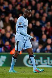 Yaya Toure of Manchester City looks dejected - Photo mandatory by-line: Rogan Thomson/JMP - 07966 386802 - 06/04/2015 - SPORT - FOOTBALL - London, England - Selhurst Park - Crystal Palace v Manchester City - Barclays Premier League.