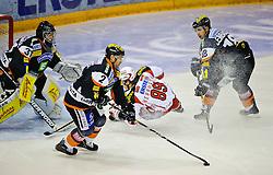 28.10.2011, Eisstadion Liebenau, Graz, AUT, EBEL, Graz 99ers vs EC KAC, im Bild Fabian Weinhandl, (99ers, #31), Cole Jarrett, (99ers, #2), Raphael Herburger, (KAC, #89), Robert Lembacher, (99ers, #18) // during the ice hockey game between Graz 99ers and EC KAC at the Eisstadion Liebenau, Graz, Austria, 2011/10/28, EXPA Pictures © 2011, PhotoCredit: EXPA/ S. Zangrando