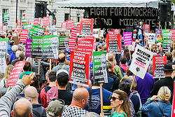 "© Licensed to London News Pictures. 07/09/2019. London, UK. Hundreds of March for Change protesters take part in ""Defend our Democracy and Stop Brexit"" rally in Whitehall, Westminster. The protesters are demonstrating against the British Prime Minister Boris Johnson's intention to prorogue Parliament until 14 October. Photo credit: Dinendra Haria/LNP"
