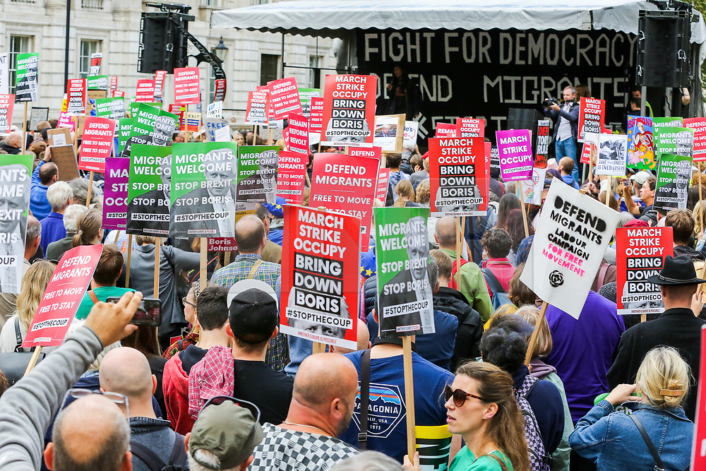 """© Licensed to London News Pictures. 07/09/2019. London, UK. Hundreds of March for Change protesters take part in """"Defend our Democracy and Stop Brexit"""" rally in Whitehall, Westminster. The protesters are demonstrating against the British Prime Minister Boris Johnson's intention to prorogue Parliament until 14 October. Photo credit: Dinendra Haria/LNP"""