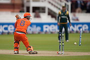 Last man Pieter Seelaar is bowled by Umar Gul during the ICC World Twenty20 Cup match between Pakistan and Netherlands at Lord's. Photo © Graham Morris (Tel: +44(0)20 8969 4192 Email: sales@cricketpix.com)