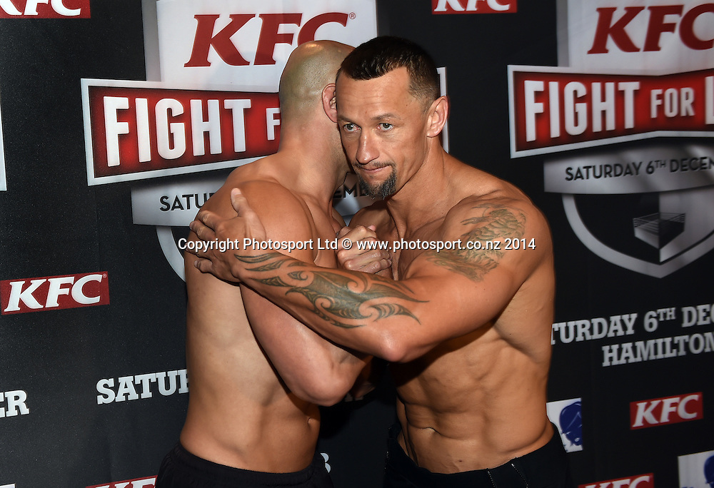 Monty Betham and Carlos Spencer pose for pictures during a press conference for the KFC Fight For Life by Duco Events. Auckland, New Zealand. Thursday 4 December 2014. Photo: Andrew Cornaga/www.photosport.co.nz.