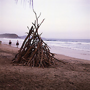 Las Alamandas, south of Puerto Vallarta, Mexico: A beach bonfire at Las Alamandas, a luxury resort on the west coast of Mexico south of Puerto Vallarta with excellent food. (Photo:Ann Summa).