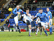St Johnstone&rsquo;s David Mackay and Joe Shaughnessy combine to stop Dundee&rsquo;s Thomas Konrad - St Johnstone v Dundee, Ladbrokes Scottish Premiership at McDiarmid Park<br /> <br />  - &copy; David Young - www.davidyoungphoto.co.uk - email: davidyoungphoto@gmail.com