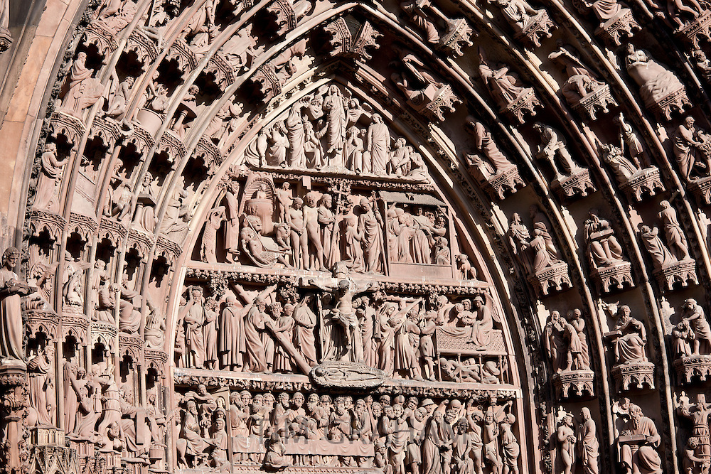 The Cathedral of Notre Dame, Our Lady, detail of tympanum and archivolts at Strasbourg, Alsace, France