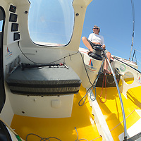 KITO DE PAVANT BASTIDE OPIO IMOCA 60' .  <br /> Faute de vent, le stand-by de Kito de Pavant sur son Imoca 60' Bastide Otio est interrompu pour cette fin juillet. Kito sera de retour avant la fin de la saison, avant son départ pour l'atlantique et le Vendée Globe, pour ouvrir la classe 60-65 pieds de la Sunlight Islands' Cup.