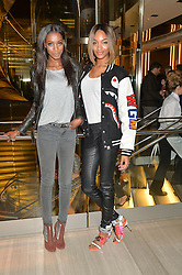Left to right, SIGAIL CURRIE and JOURDAN DUNN at the Veryexclusive.co.uk Launch Party held at Watches of Switzerland, 155 Regents Street, London on 20th February 2015.
