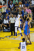 Golden State Warriors forward Kevin Durant (35) dunks the ball against the Oklahoma City Thunder at Oracle Arena in Oakland, Calif., on November 3, 2016. (Stan Olszewski/Special to S.F. Examiner)