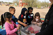 Students learn about earthworms at Tucson Village Farm, Tucson, Arizona, USA.