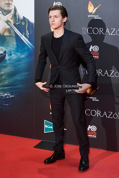 Tom Holland attended 'In the heart of the see' film premiere at Callao Cinema during Madrid Premiere Week on December 2, 2015 in Madrid, Spain