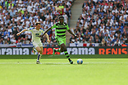 Forest Green Rovers Manny Monthe(3) runs forward during the Vanarama National League Play Off Final match between Tranmere Rovers and Forest Green Rovers at Wembley Stadium, London, England on 14 May 2017. Photo by Shane Healey.