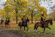 The troop enters Green Park and galops to action - The King's Troop Royal Horse Artillery (KTRHA), the ceremonial saluting battery of Her Majesty's Household Division, fire a 41-gun Royal Salute in honour of His Royal Highness The Prince of Wales's 69th birthday. 71 horses pulling six First World War-era 13-pounder Field Guns came into action from in the park halfway down Constitution Hill.  Each of the guns fired blank artillery rounds at ten-second intervals. London 14 Nov 2017