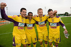 Miral Samardzic, Marcos Tavares, Ales Mertelj and Marko Popovic of Maribor celebrate at 13th Round of Prva Liga football match between NK Olimpija and Maribor, on October 17, 2009, in ZAK Stadium, Ljubljana. Maribor won 1:0. (Photo by Vid Ponikvar / Sportida)