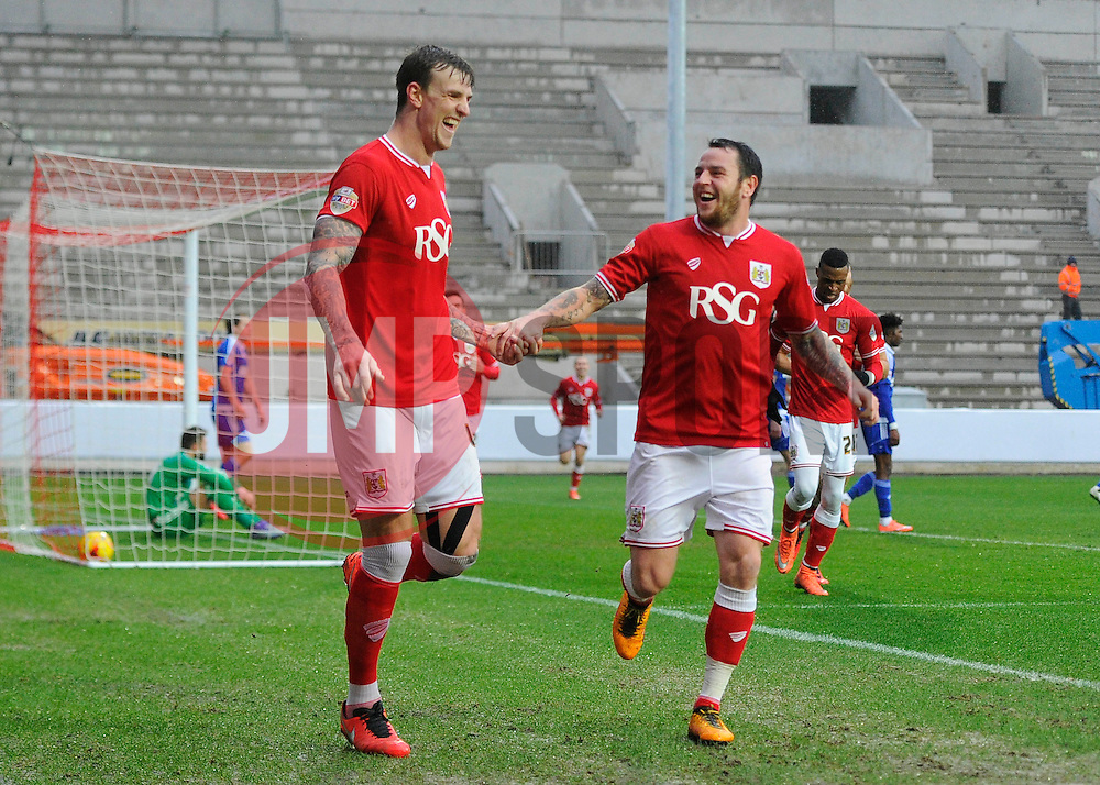 Aden Flint of Bristol City celebrates his second goal of the game with Lee Tomlin of Bristol City   - Mandatory byline: Joe Meredith/JMP - 13/02/2016 - FOOTBALL - Ashton Gate - Bristol, England - Bristol City v Ipswich Town - Sky Bet Championship