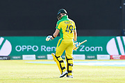 Wicket - Steve Smith of Australia looks dejected as he walks back to the pavilion after being dismissed by Mujeeb Ur Rahman of Afghanistan during the ICC Cricket World Cup 2019 match between Afghanistan and Australia at the Bristol County Ground, Bristol, United Kingdom on 1 June 2019.