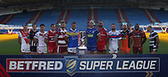 Betfred Super League Official Photograph (L-R) Jonny Lomax (St Helens), Joe Mellor (Widnes) Ben Gacia (Catalan), Shaun Lunt (Hull KR), Sean O'Loughlin (Wigan Warriors), Ryan Hall (Leeds Rhinos), Chris Hill (Warrington Wolves), Manu Vatuvei (Salford Red Devils), Tyler Randell (Wakefield) Luke Gale (Castleford Tigers), Jermaine Mc Gillvary (Huddersfield Giants), Danny Houghton (Hull FC)  during the media launch for the Betfred Super League 2018 season at the John Smiths Stadium, Huddersfield<br /> Picture by Stephen Gaunt/Focus Images Ltd +447904 833202<br /> 25/01/2018