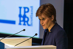 First Minister of Scotland, Nicola Sturgeon, outlines her vision for the economy in Scotland. The speech was made at the opening session of the IPPR Commission on Economic Justice event at the National Museum of Scotland in Edinburgh.<br /> <br /> Pictured: Nicola Sturgeon speaking at the IPPR event