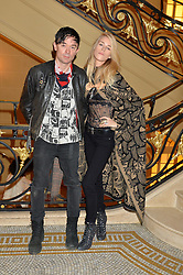 ROBBIE FURZE and LADY MARY CHARTERIS at a party to celebrate the publication of 'Have I Said Too Much' by Carole White held at the Cafe Royal, Regents Street, London on 18th February 2015.
