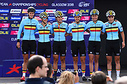 Podium, Women Road Race 129,4 km, Team belgium, during the Cycling European Championships Glasgow 2018, in Glasgow City Centre and metropolitan areas, Great Britain, Day 4, on August 5, 2018 - Photo Dario Belingheri / BettiniPhoto / ProSportsImages / DPPI - Belgium out, Spain out, Italy out, Netherlands out -