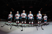 KELOWNA, CANADA - JANUARY 25:  Conner Bruggen-Cate #20, Mark Liwiski #9, Alex Swetlikoff #17, Devin Steffler #4, Schael Higson #21 and the Pepsi player stand on the blue line at the start of the game against the Victoria Royals on January 25, 2019 at Prospera Place in Kelowna, British Columbia, Canada.  (Photo by Marissa Baecker/Shoot the Breeze)
