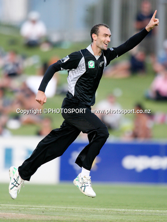 Andy Mckay celebrates his first wicket on debut. New Zealand Black Caps v Bangladesh. 1st ODI. McLean Park, Napier. Friday 05 February 2010  Photo: John Cowpland/PHOTOSPORT