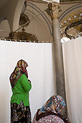 konya   woman only section of mosque curtains divide sections