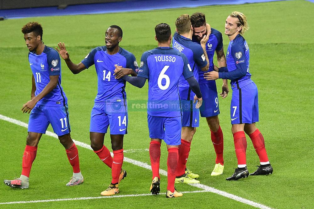 October 10, 2017 - St Denis, France, France - joie des joueurs de l equipe de France apres le but de Olivier Giroud  (Credit Image: © Panoramic via ZUMA Press)