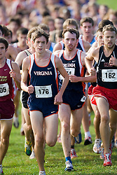 Virginia Cavaliers Emil Heineking (176) and Virginia Cavaliers Jan Foerster (174) at the front of the pack.  The Atlantic Coast Conference Cross Country Championships were held at Panorama Farms near Charlottesville, VA on October 27, 2007.  The men raced an 8 kilometer course while the women raced a 6k course.