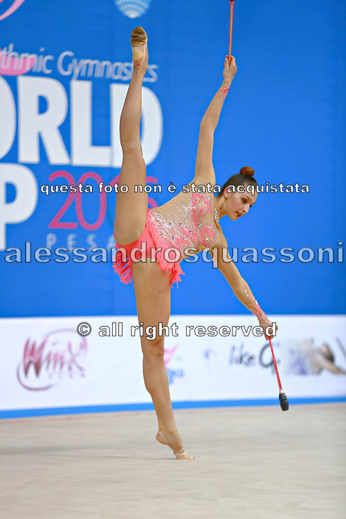 Mickova Monika of Czech Republic competes during the rhythmic gymnastics individual clubs qualification of the World Cup at Adriatic Arena on April 2, 2016 in Pesaro, Italy.<br />