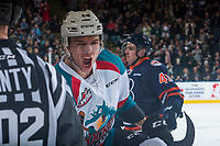 KELOWNA, CANADA - MARCH 24: Carsen Twarynski #18 of the Kelowna Rockets celebrates scoring the opening goal during first period against the Kamloops Blazers on March 24, 2017 at Prospera Place in Kelowna, British Columbia, Canada.  (Photo by Marissa Baecker/Shoot the Breeze)  *** Local Caption ***