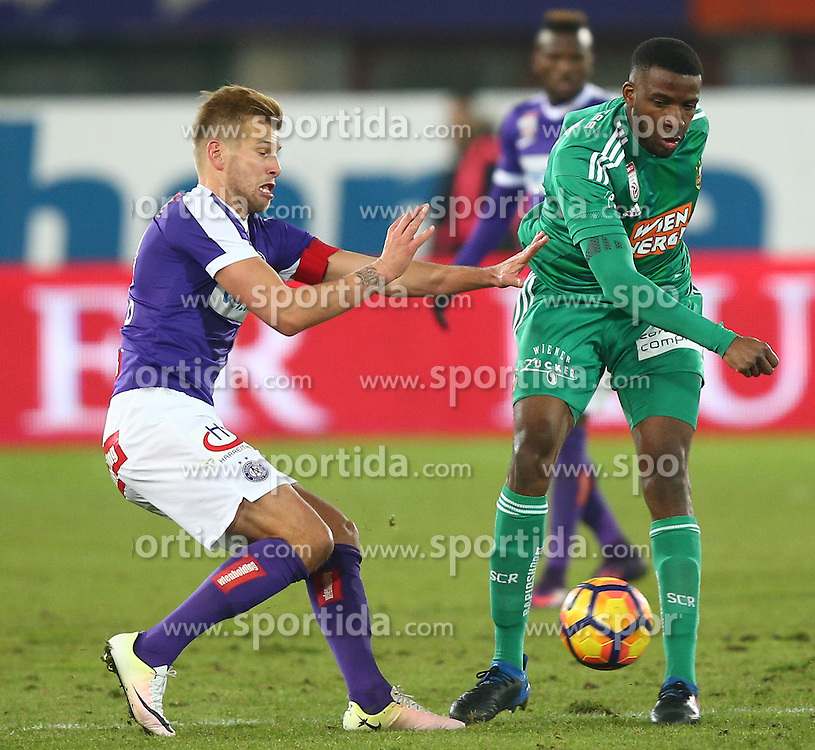 12.02.2017, Ernst Happel Stadion, Wien, AUT, 1. FBL, FK Austria Wien vs SK Rapid Wien, 21. Runde, im Bild Alexander Gruenwald (FK Austria Wien) und Osarenren Okungbowa (SK Rapid Wien) // during Austrian Football Bundesliga Match, 21st Round, between FK Austria Vienna and SK Rapid Vienna at the Ernst Happel Stadion, Vienna, Austria on 2017/02/12. EXPA Pictures © 2017, PhotoCredit: EXPA/ Thomas Haumer