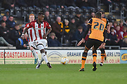 Josh Clarke (36) of Brentford crosses ball during the Sky Bet Championship match between Hull City and Brentford at the KC Stadium, Kingston upon Hull, England on 26 April 2016. Photo by Ian Lyall.