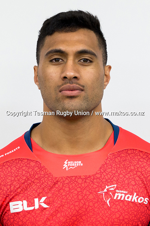 Viliami Lolohea.<br /> Headshots of the Tasman Makos Rugby Union squad for the 2017 season of the Mitre 10 Cup Championship.<br /> Photo credit: Tasman Rugby Union.