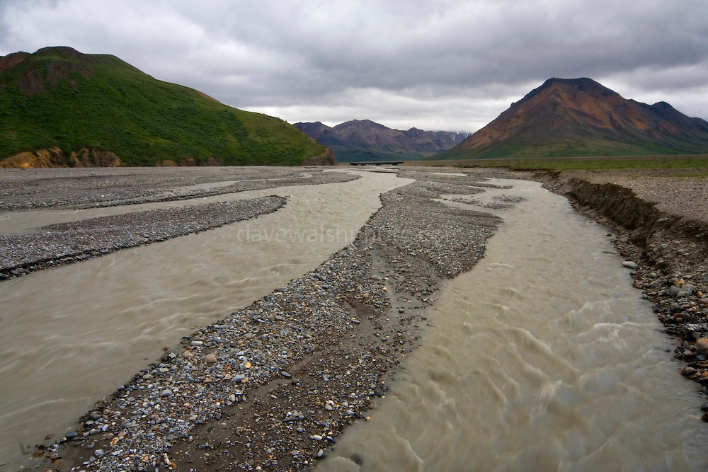 Tolkat River, Denali National Park, Alaska, a braided river of glacial deposits...