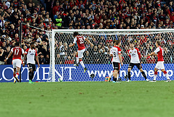 July 15, 2017 - Sydney, New South Wales, Australia - Arsenal player, Mohamed Elneny scores the third goal by shooting towards the bottom left corner.FA Cup Champions Arsenal wins 3-1 over Western Sydney Wanderers FC at ANZ Stadium. (Credit Image: © United Images/Pacific Press via ZUMA Wire)