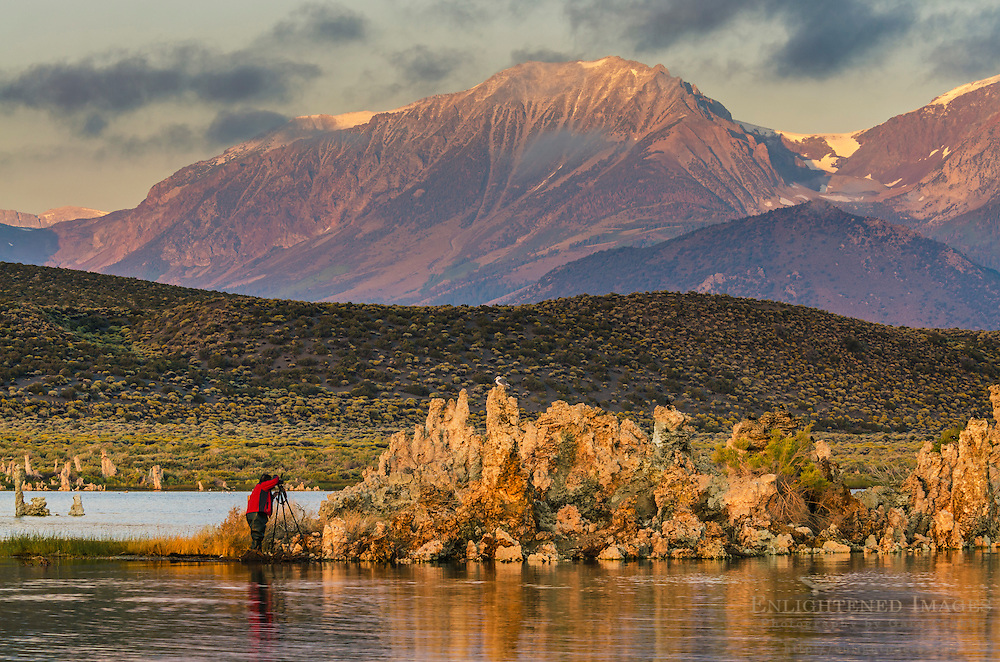 Photographer taking pictures of tufa on the South Shore of Mono Lake, Mono County, Eastern Sierra, California