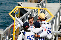 1 August 2015: Special Olympic World Games Los Angeles Sailing Finals in Long Beach, California. Sailor Giannis Stratigopoulos (Hellenic Team) greets his teammates with open arms after the last race on Sunday in Long Beach,CA.
