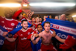 Free to use courtesy of Sky Bet - Accrington Stanley celebrate winning promotion to Sky Bet League One - Mandatory by-line: Robbie Stephenson/JMP - 17/04/2018 - FOOTBALL - Wham Stadium - Accrington, England - Accrington Stanley v Yeovil Town - Sky Bet League Two