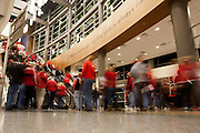 November 8, 2013: Husker fans making their way into the Pinnacle Bank Arena for the opening day when the Huskers take on the Florida Gulf Coast Eagles in Lincoln, Nebraska. Nebraska defeated Florida Gulf Coast 79 to 55.