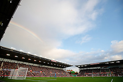 A rainbow is seen over the stadium - Photo mandatory by-line: Rogan Thomson/JMP - 07966 386802 - 19/10/2014 - SPORT - FOOTBALL - Stoke-on-Trent, England - Britannia Stadium - Stoke City v Swansea City - Barclays Premier League.