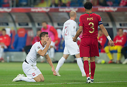 October 11, 2018 - Chorzow, Poland - Krzysztof Piatek (POL), Pepe during the UEFA Nations league match between Poland v Portugal at the Slaski Stadium on October 11, 2018 in Chorzow  (Credit Image: © Foto Olimpik/NurPhoto via ZUMA Press)
