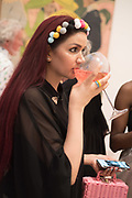 SAFREEN KHAN, Private view for the Art of Campari, The Estorick Collection,  Islington. London. 3 July 2018